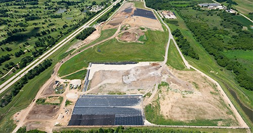 An aerial view of the Dane County Landfill